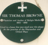 Plaque on wall in Norwich